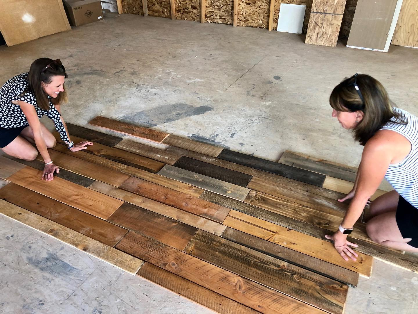 """The giant art project of making a """"reclaimed"""" floor out of new wood...something which started as a concept when we first built the Lookout...still as fun (and challenging) as ever! whitefish custom home builder"""