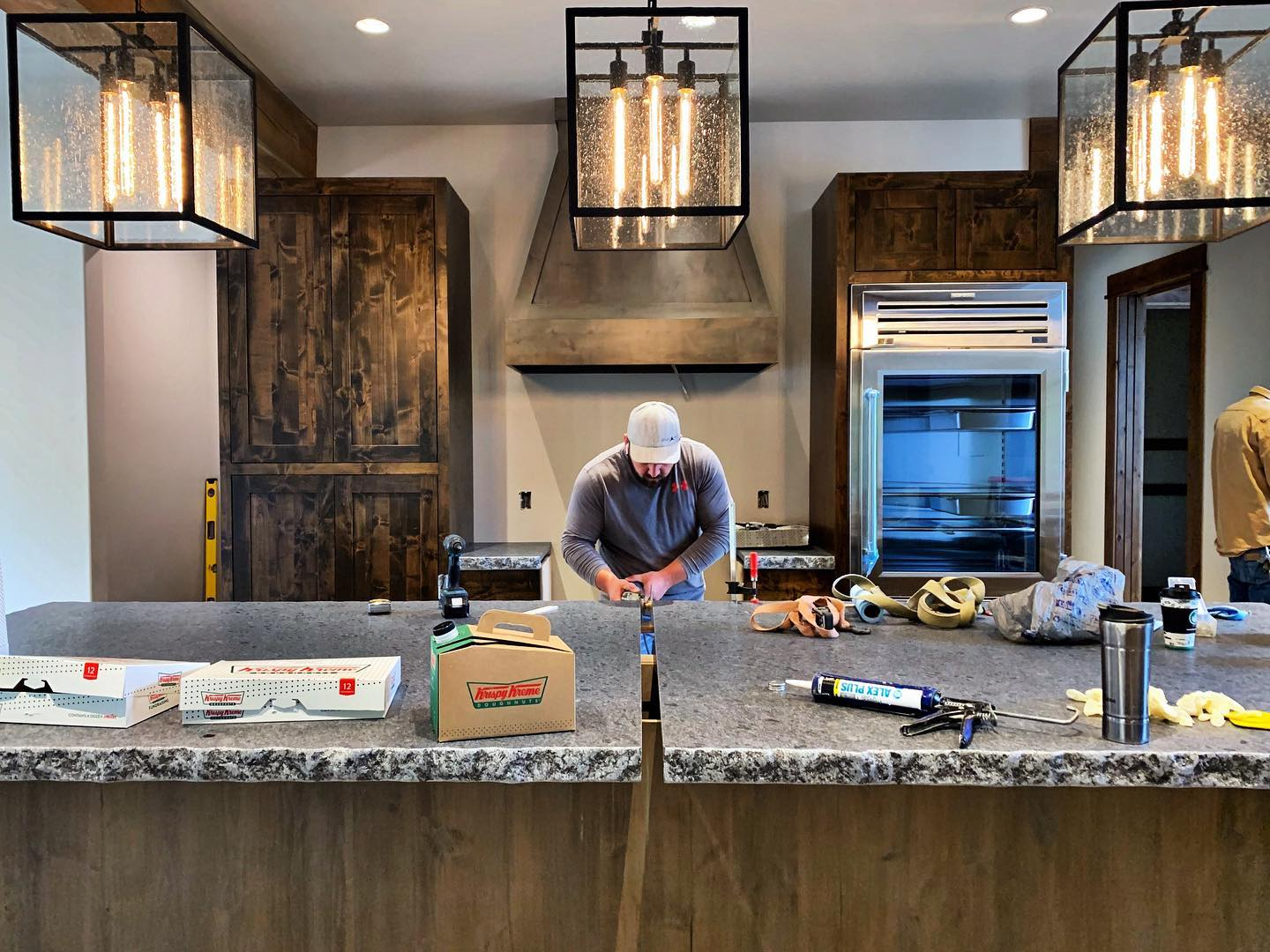 Power food and a crew that works really really hard on our awesome details. And seriously, check out this fridge!! @eashandmillerwoodworks whitefish custom home builder