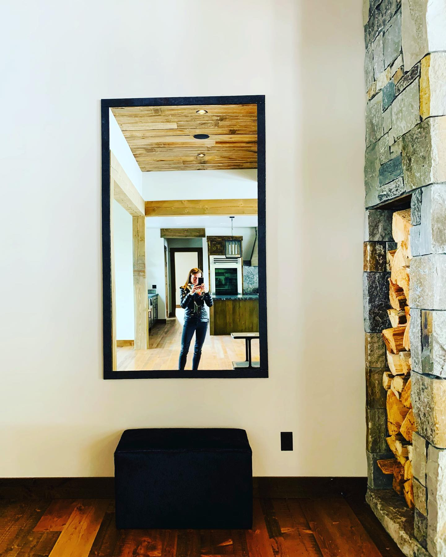 Custom mirror + custom wood box whitefish custom home builder
