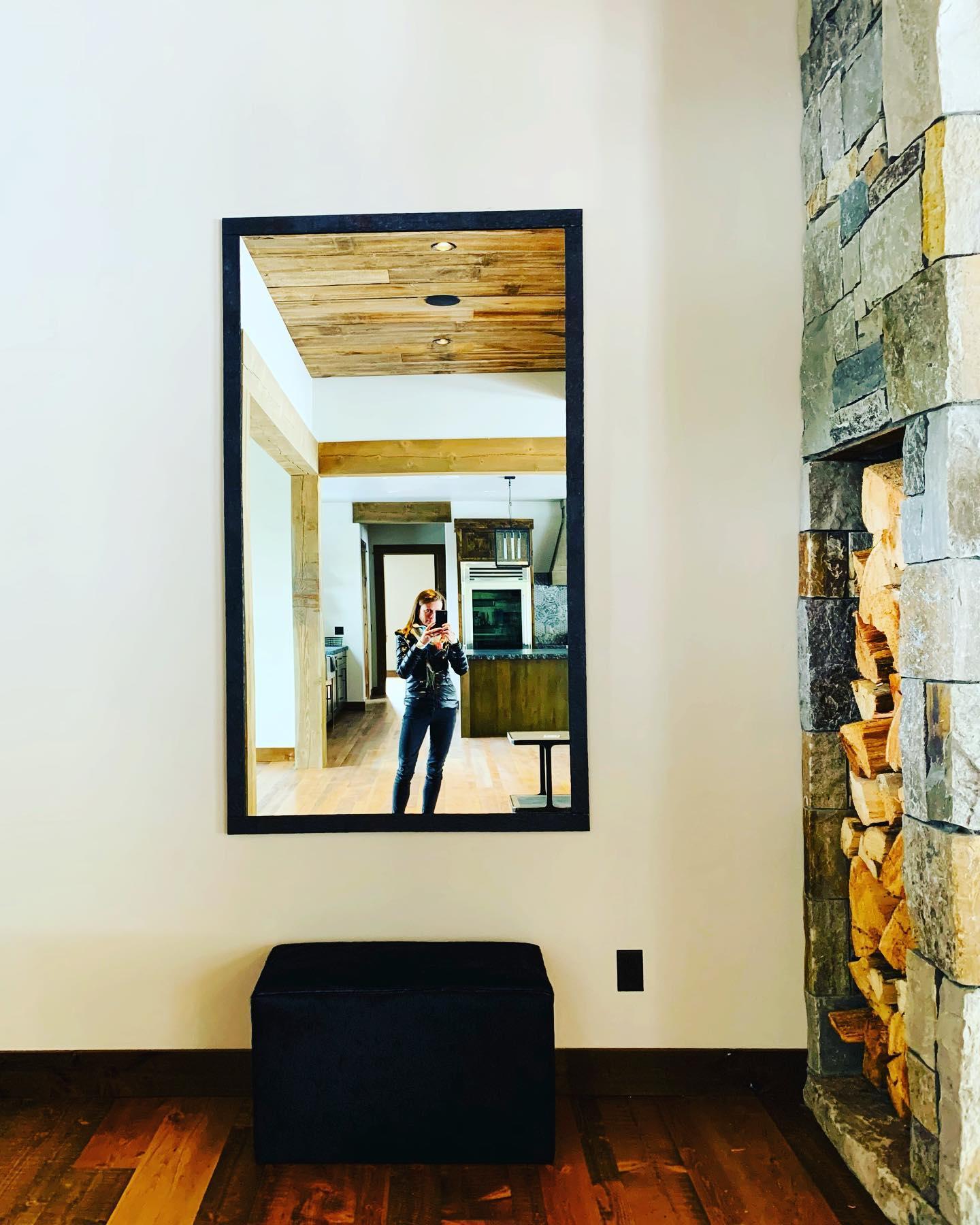 Custom mirror + custom wood box whitefish custom home builder