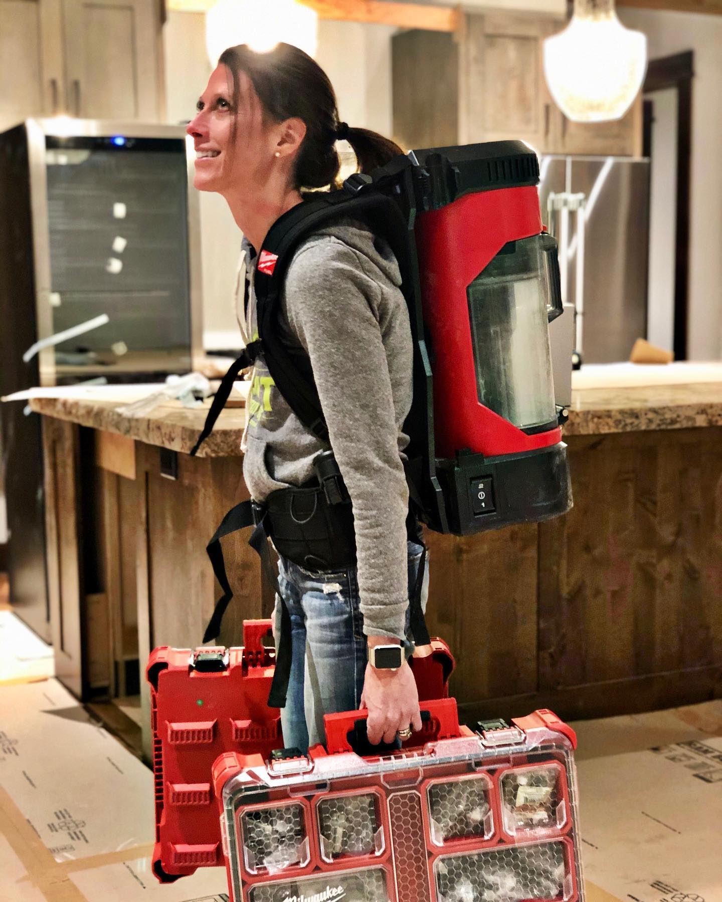 Rocking a new jobsite look...I'll call it builder-girl fashion whitefish custom home builder