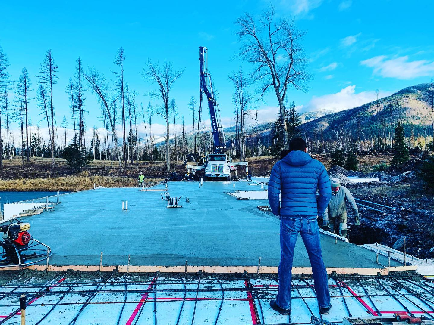 Another amazing day in Montana (how rare is this weather for December!) and a perfect day to pour 1/2 a foundation! whitefish custom home builder