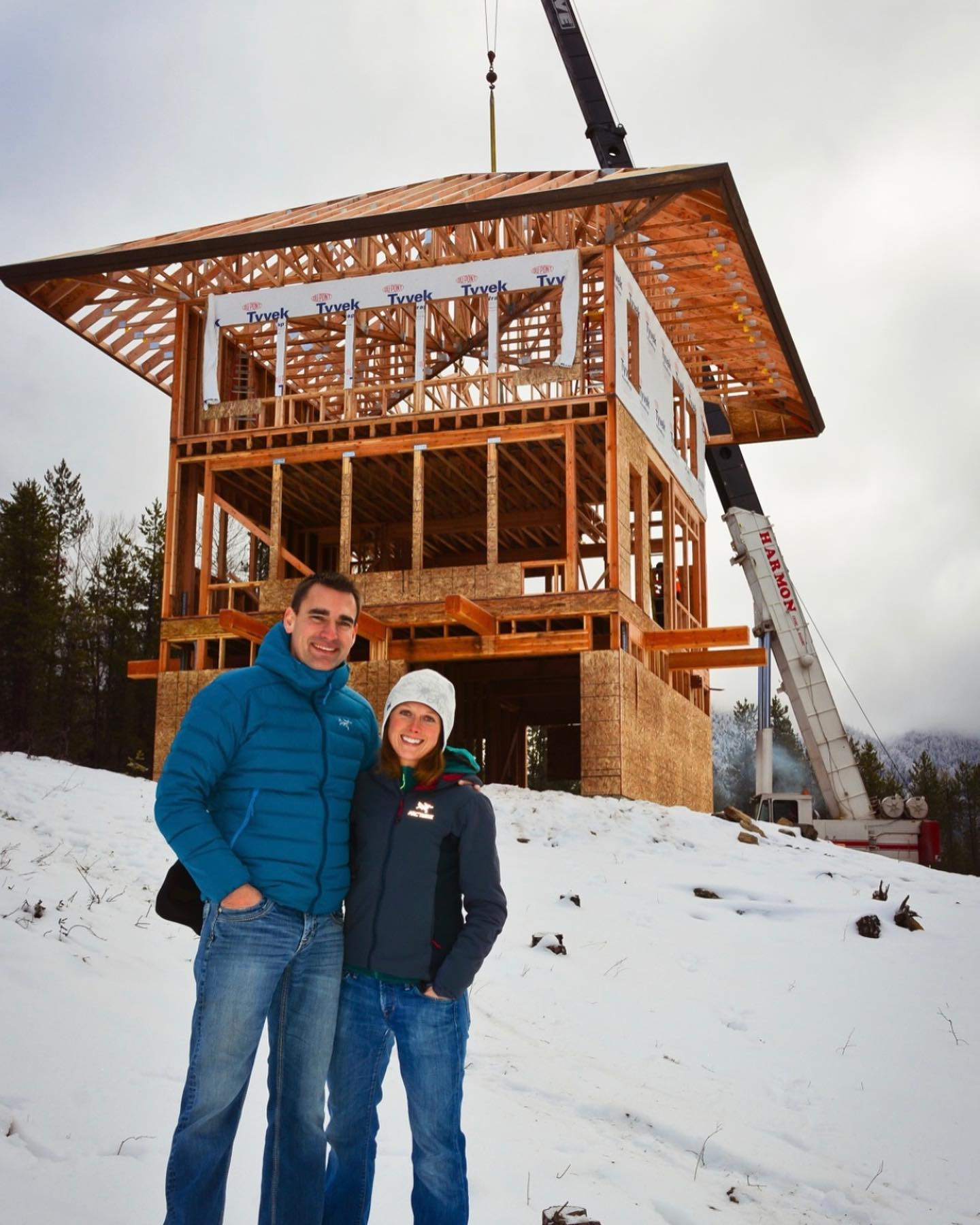 One of my very best days ever...the day we flew the roof onto the Lookout in the middle of December...how has it been 6 years?!? whitefish custom home builder