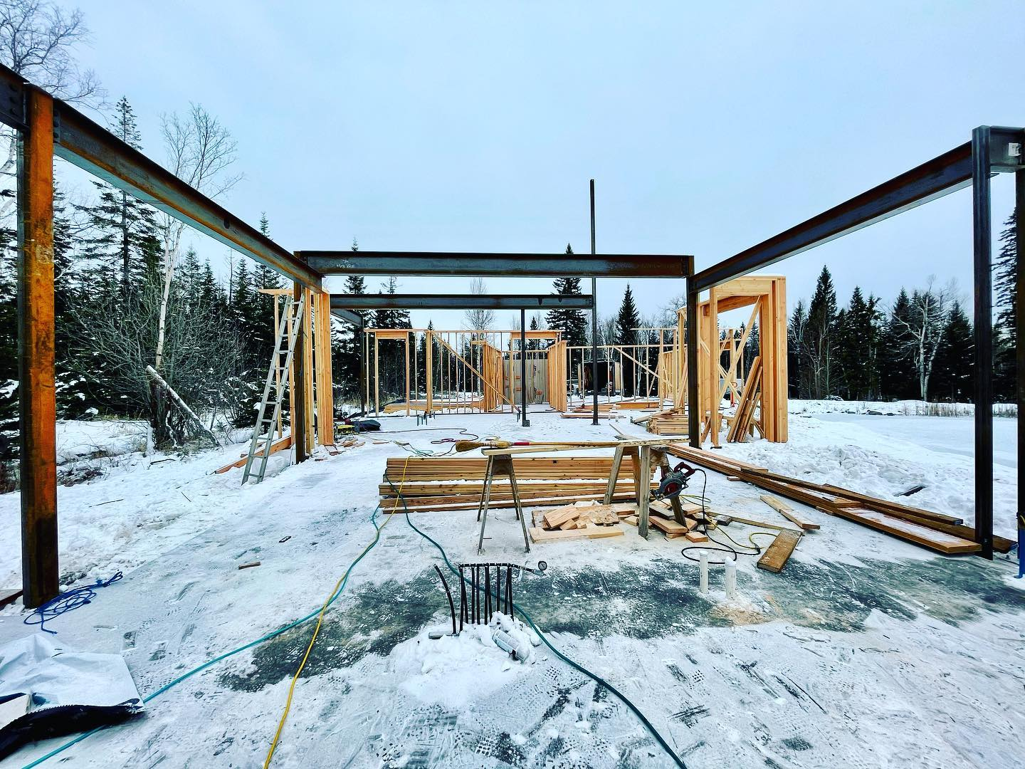 All this steel is making me very happy whitefish custom home builder