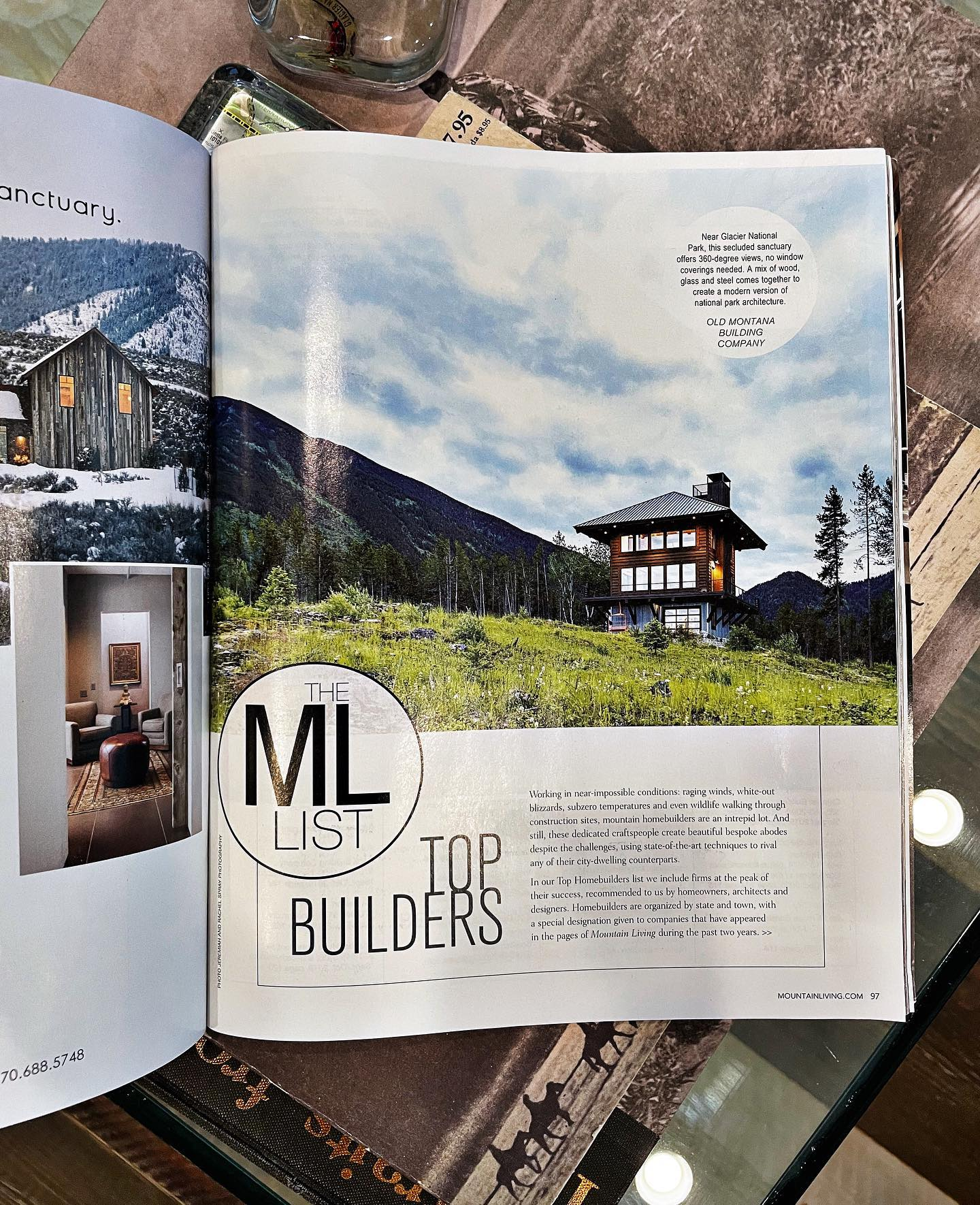 "Mountain Living's Top Mountain Homebuilder list for 2021...how surprising is it to open up this month's issue and find out we not only made the list...but the top spot... ""Working in near-impossible conditions: raging winds, white-out blizzards, subzero temperatures and even wildlife walking through construction sites, mountain home builders are an intrepid lot. And still, these dedicated craftspeople create beautiful bespoke abodes despite the challenges, using state-of-the-art techniques to rival any of their city-dwelling counterparts."" @jeremiahandrachel @theredbarn_mt @somertreat whitefish custom home builder"
