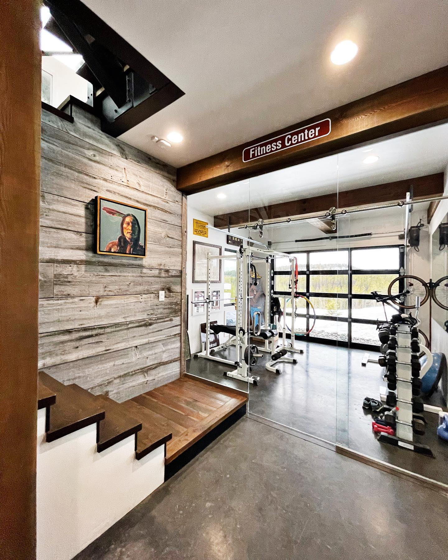 Workout at home...it's easier with a mini gym! whitefish custom home builder