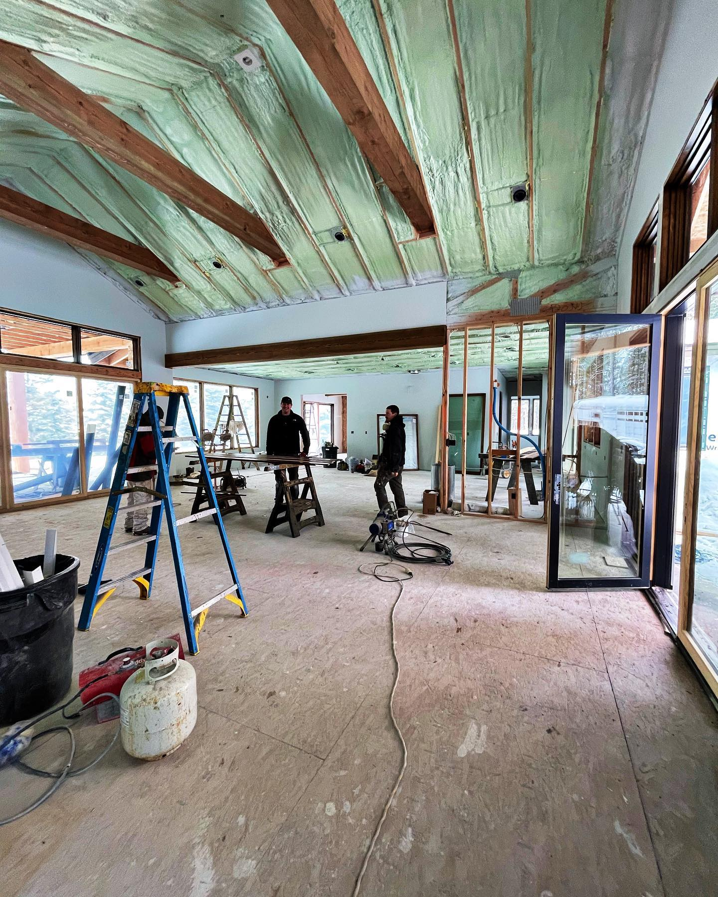 We believe in spray foam  these tall ceilings are soon to be barnwood... #oldmontanabuildingcompany #designbuild #buildwhitefish #designbuild #buildlocal
