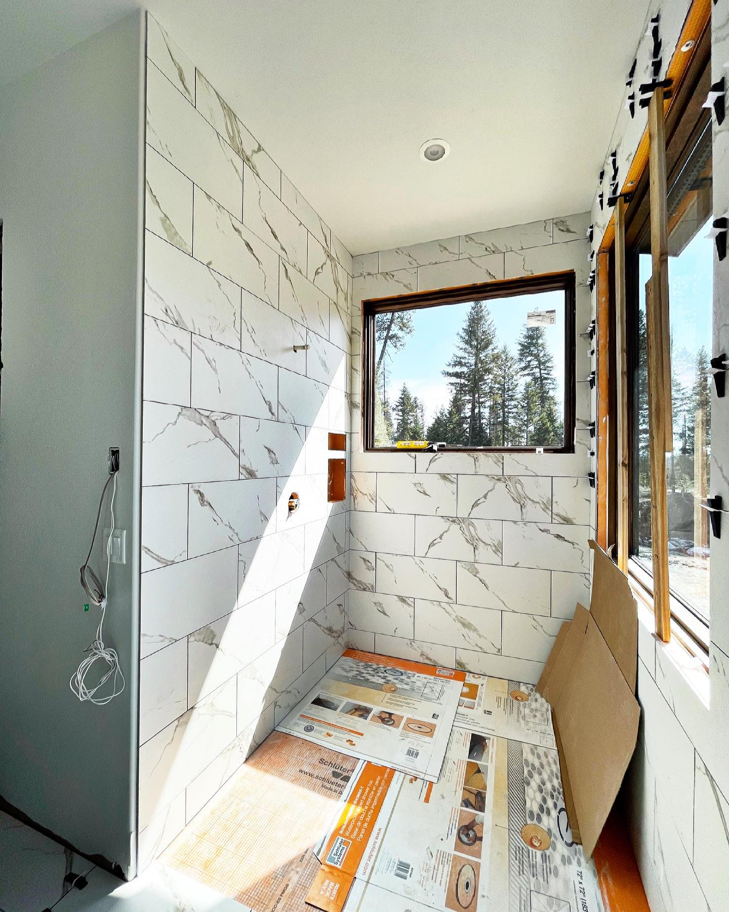 Work in progress. I can't wait to show this master bathroom when it's complete. It's different than anything we've done! whitefish custom home builder