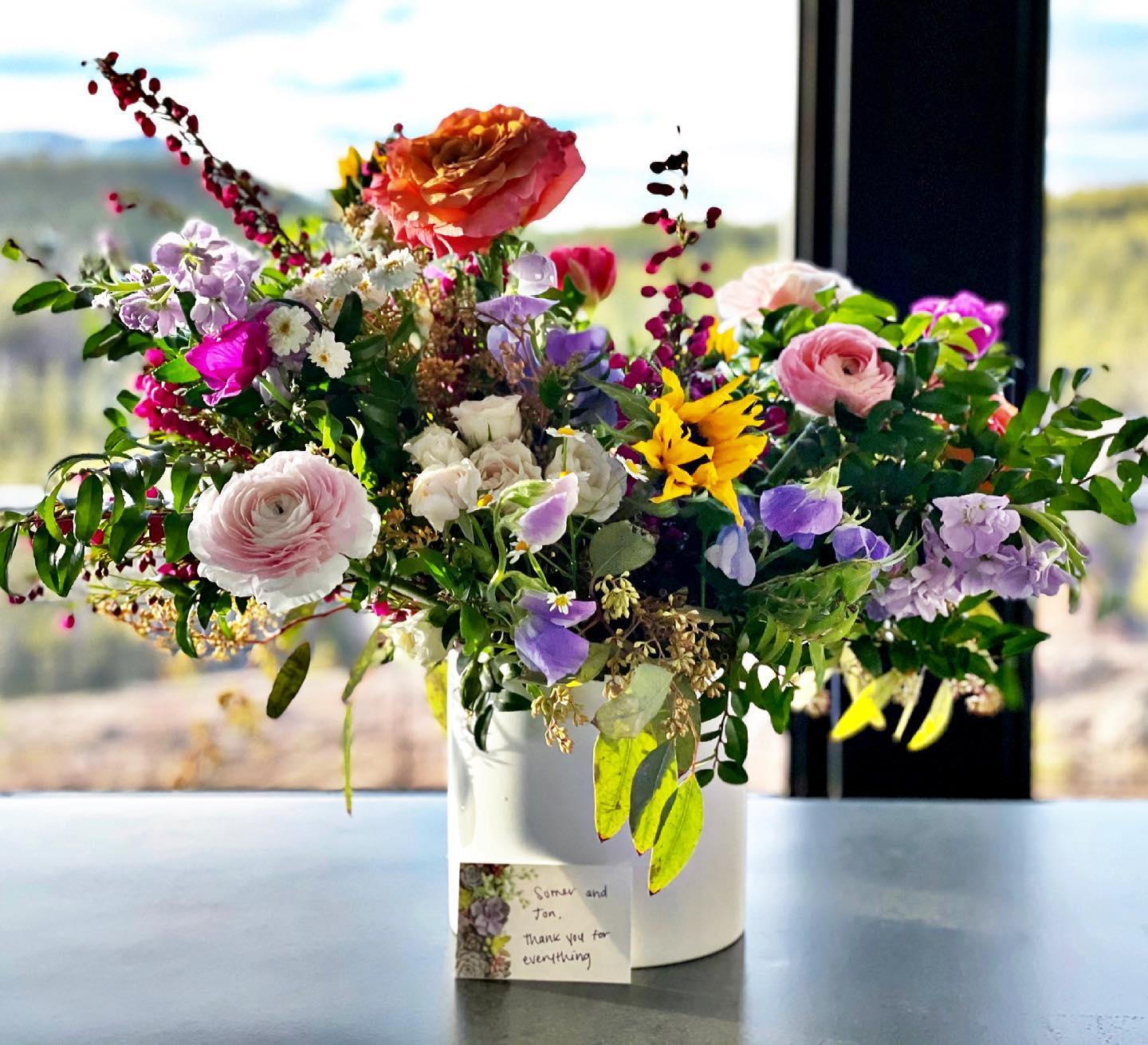 We have the BEST client/friends  (and I'm luckiest to be the girl that gets to take the flowers home!!) @mumsflowersmt whitefish custom home builder