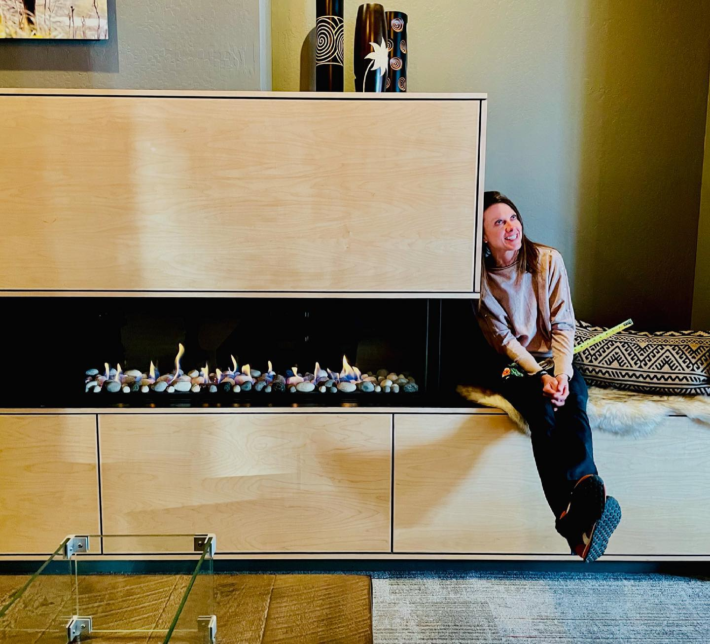 Debating fireplace sizes...doesn't all this glass look so good?? 51 inches of glass doesn't seem like too much, does it?? whitefish custom home builder