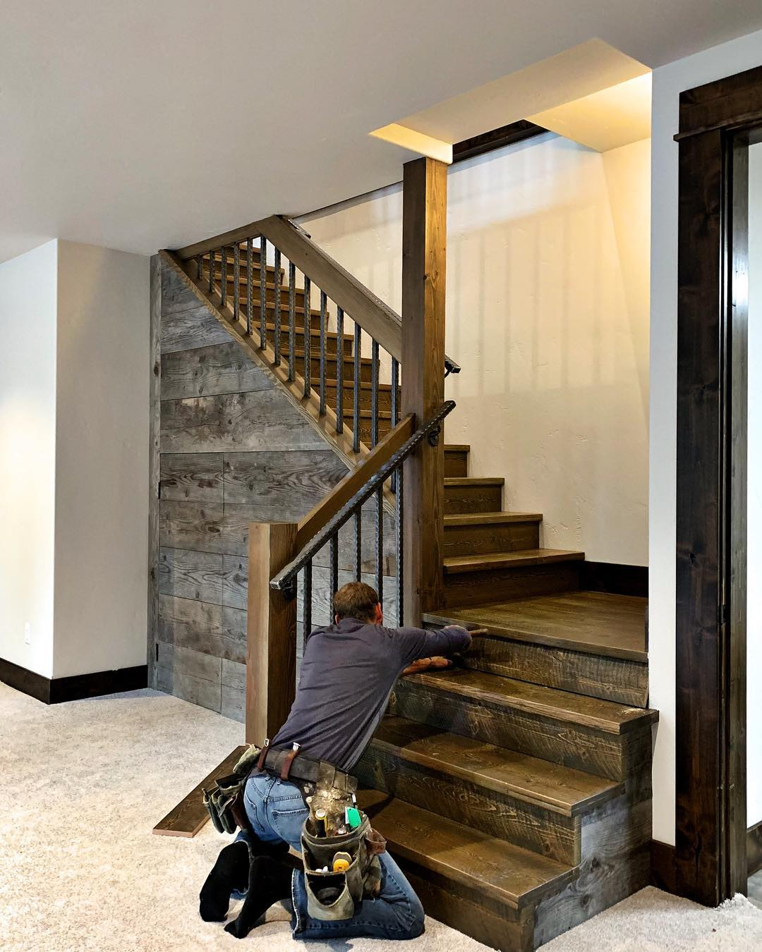 Kitchen and stairs are always my favorite!! whitefish custom home builder