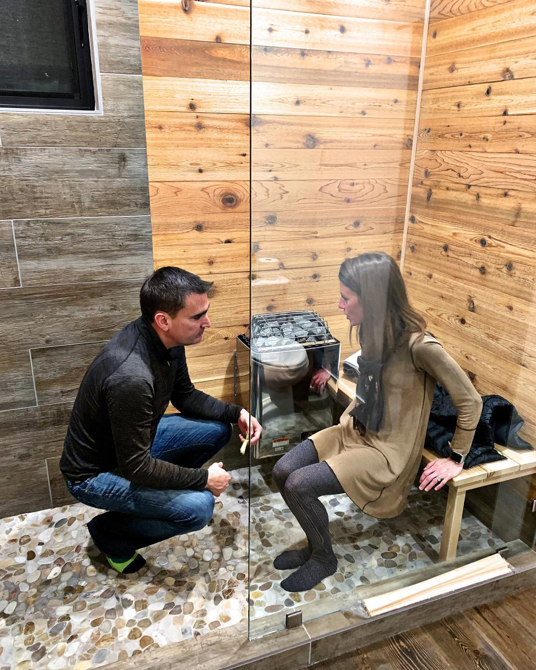Nothing like a little hands on problem solving (oh yes, this is a sauna+shower) and it WILL work whitefish custom home builder