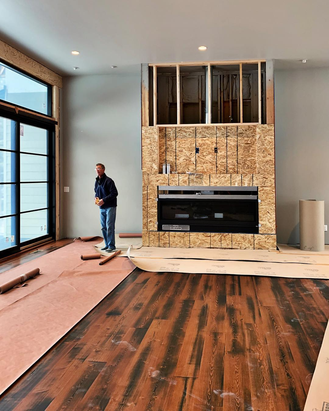 Papering this masterpiece of a floor today, but here is a sneak-peek before it's covered!! whitefish custom home builder