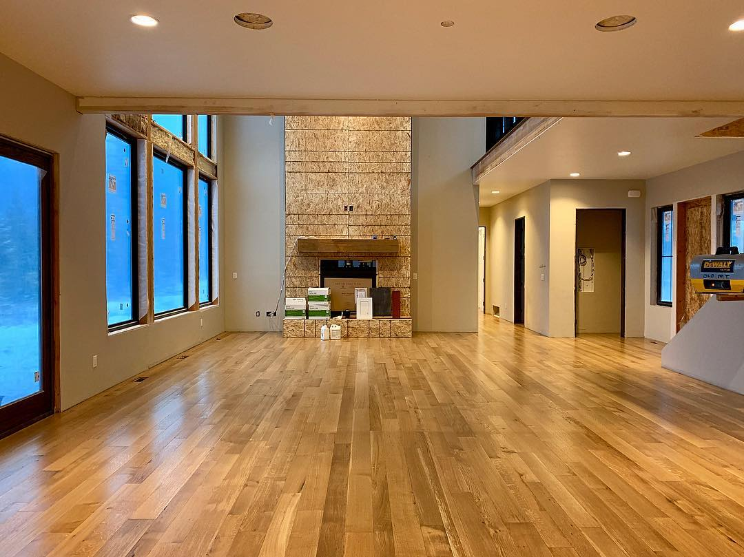 Our very first oak floors whitefish custom home builder