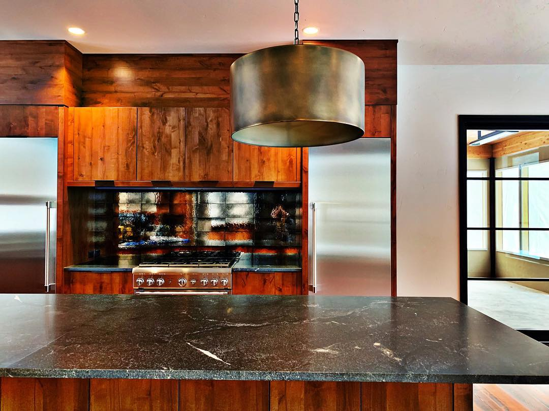 Yes, the freezer and refrigerator are indeed stainless and not blue!! whitefish custom home builder