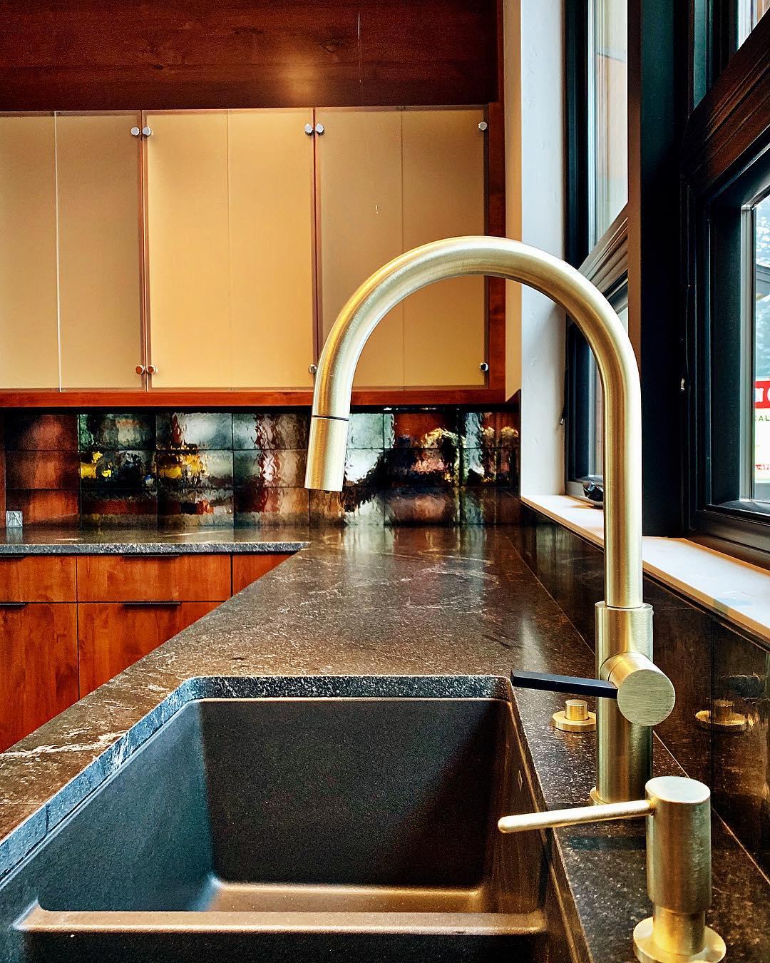 Love the brass!! whitefish custom home builder