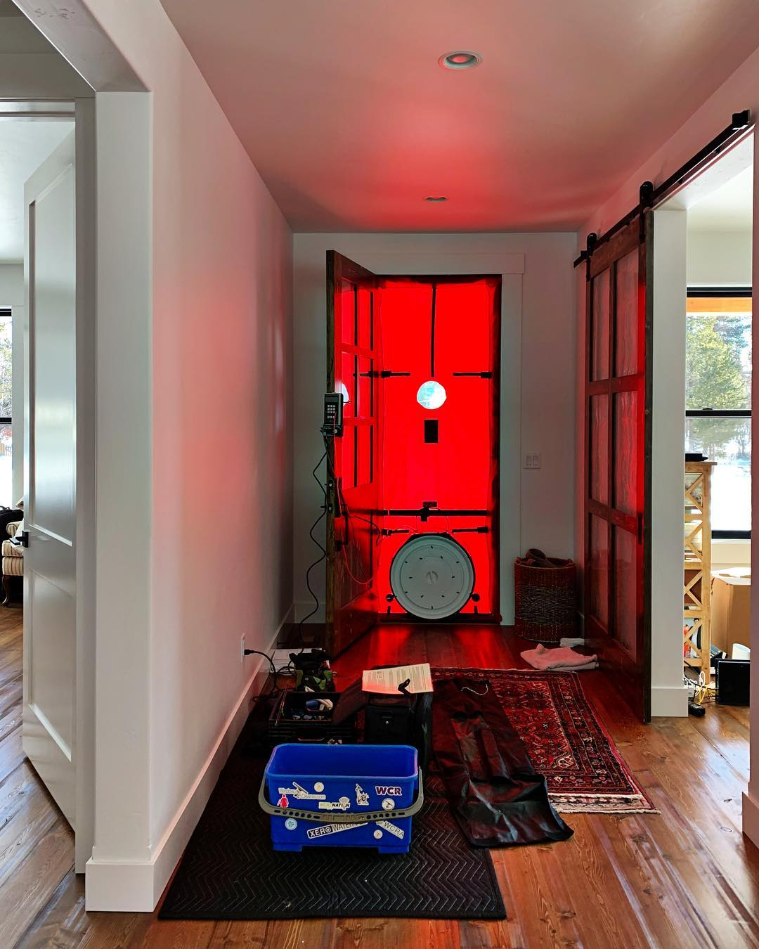 The real test of good construction...the infamous blower door test  and yes, this is why we build such energy efficient  homes! whitefish custom home builder