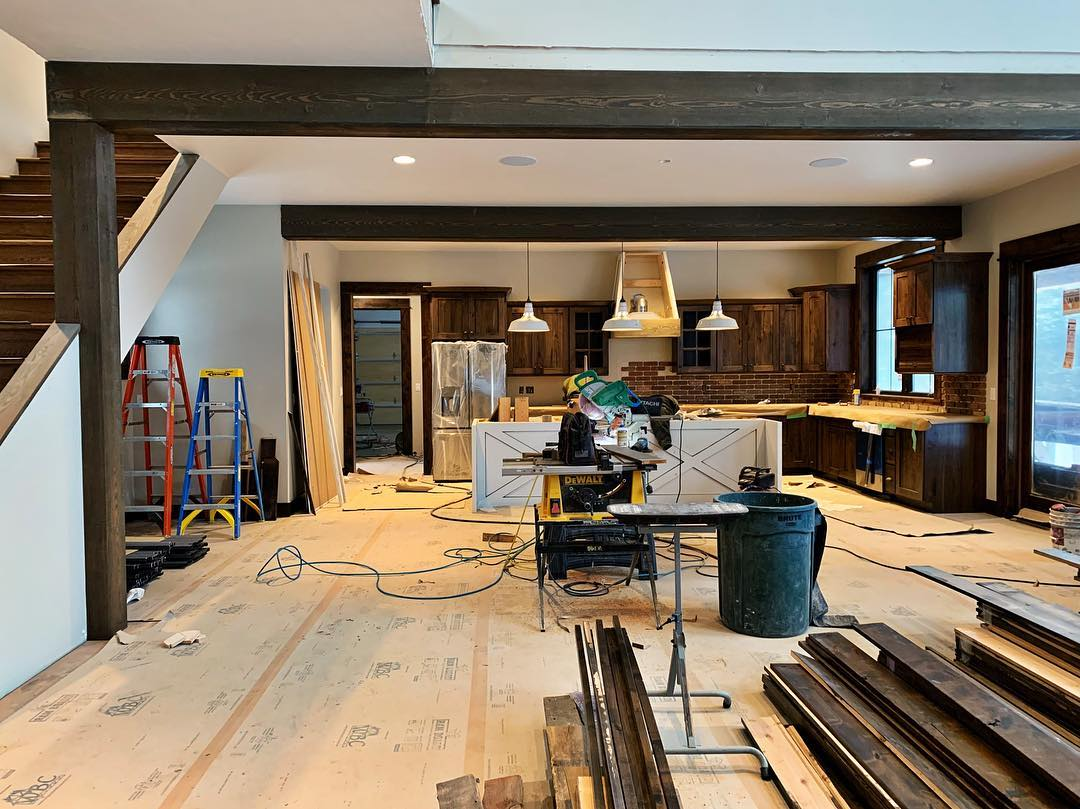 Final days!! Had 8 guys show up to work on a Sunday (not just any Sunday...but a blizzard and Super Bowl Sunday!!) which says a LOT about the Old MT team!! whitefish custom home builder
