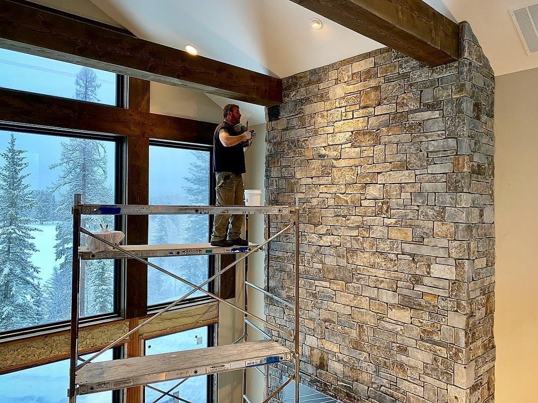 Starting to seal the fireplace (first one we've done like this) excited to see the final product!! @montanarockworks whitefish custom home builder