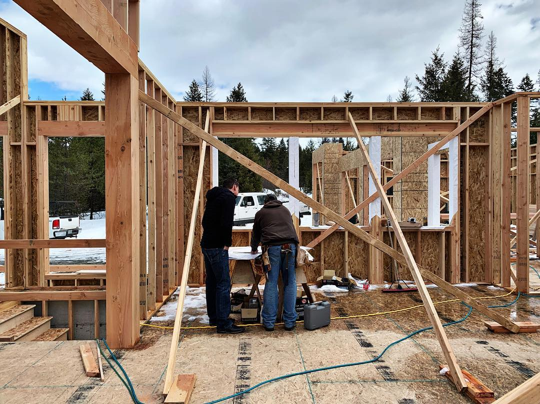 Jobsite discussions (finally in 40 degree temps!!) whitefish custom home builder
