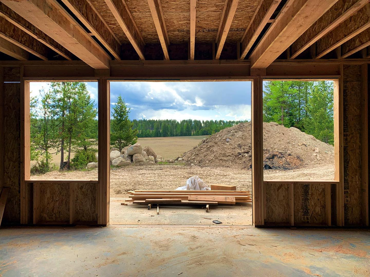 This could be the new view from your walkout...upstairs is even better!! whitefish custom home builder