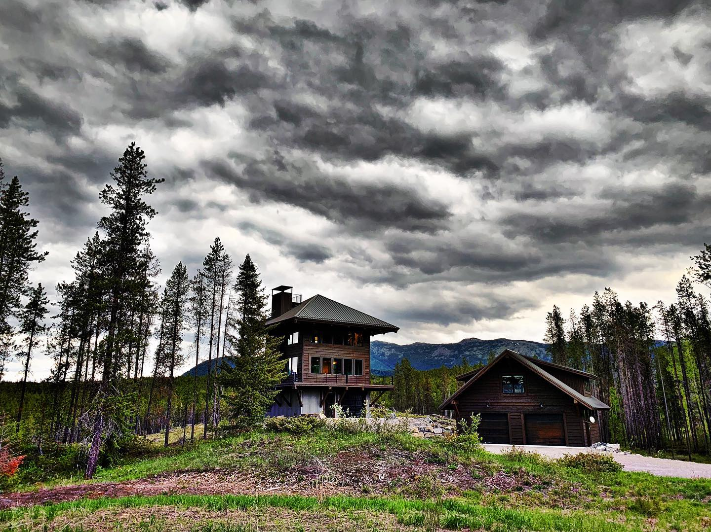 Crazy lighting this morning at the Lookout...hello spring! whitefish custom home builder