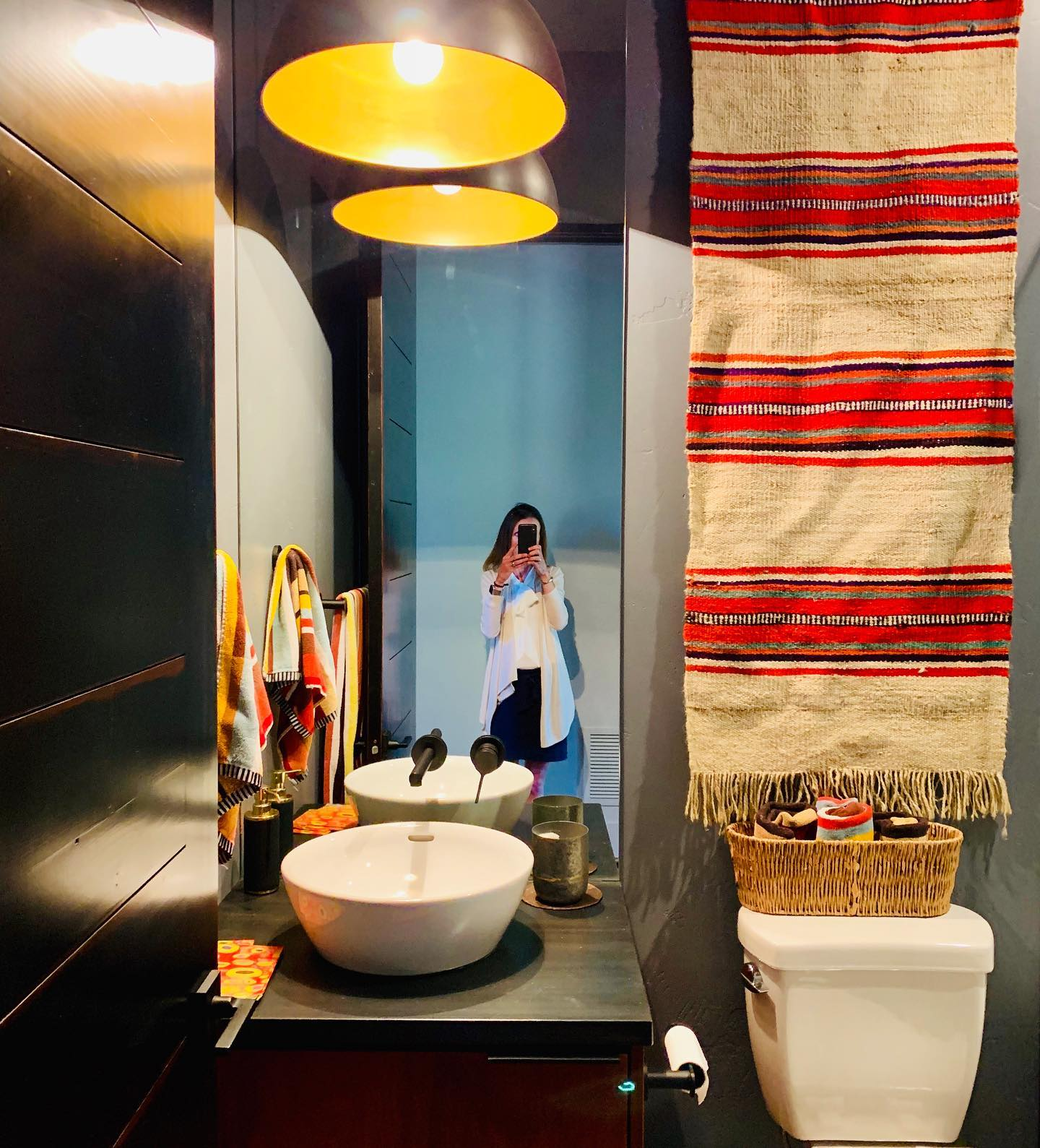 Who says a bathroom shouldn't be too bold?! @cmtfabrication whitefish custom home builder