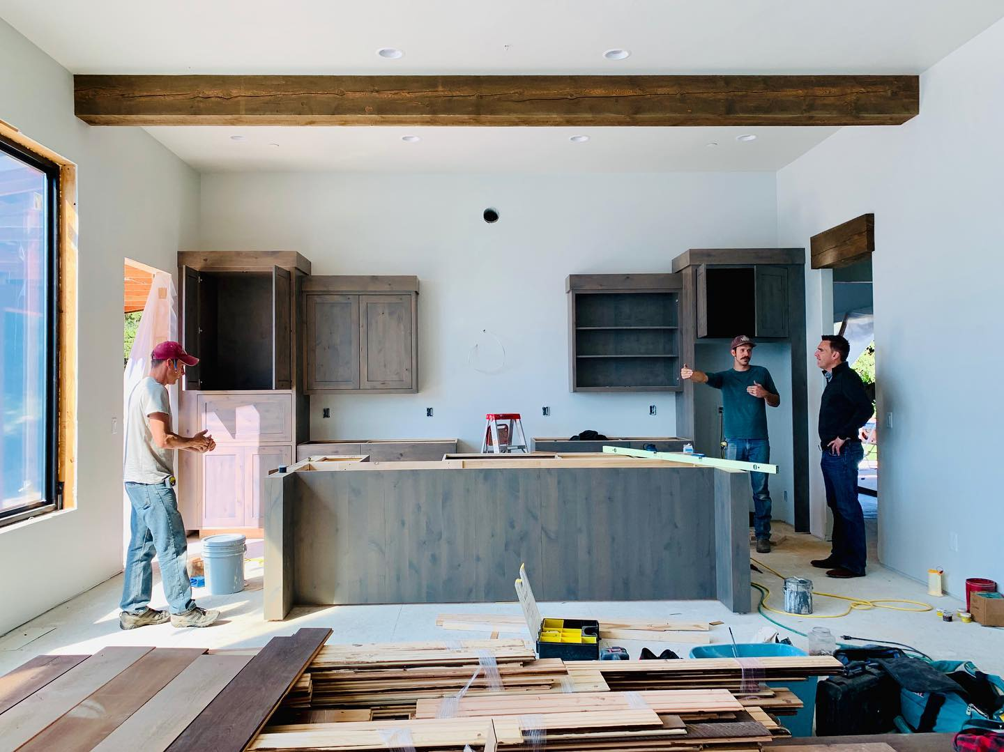 295 Bowdrie Trail kitchen is going in! whitefish custom home builder