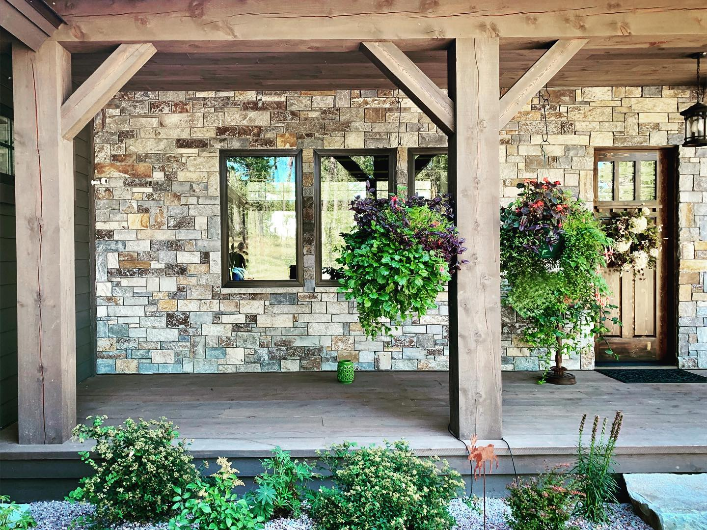 Loving this porch!! A shot out of a Glacier Park Lodge! whitefish custom home builder
