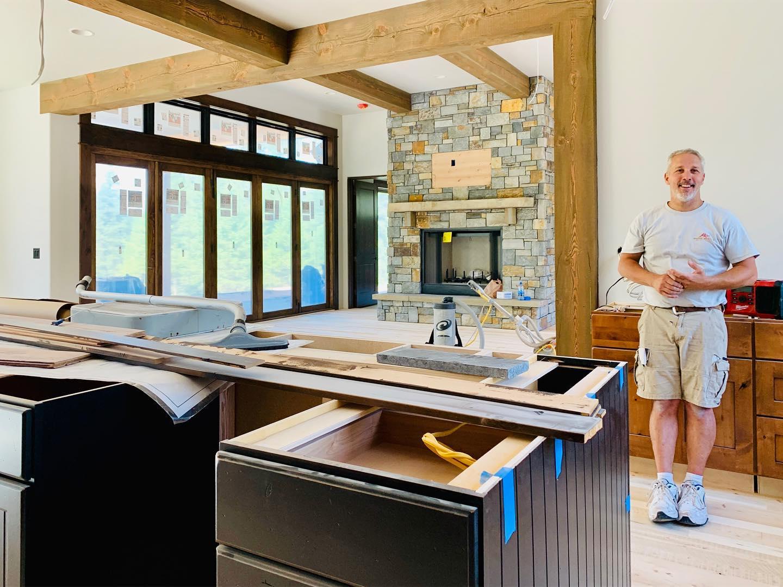 Floor staining day!! whitefish custom home builder