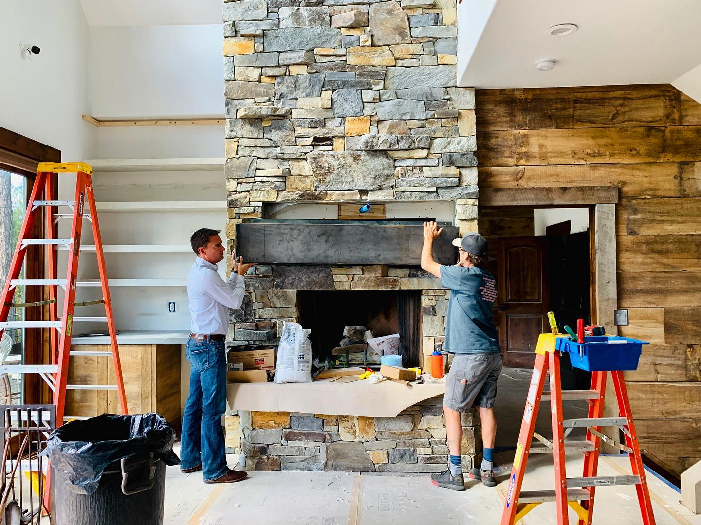 And the size of this mantle is  @awiwoodworks whitefish custom home builder