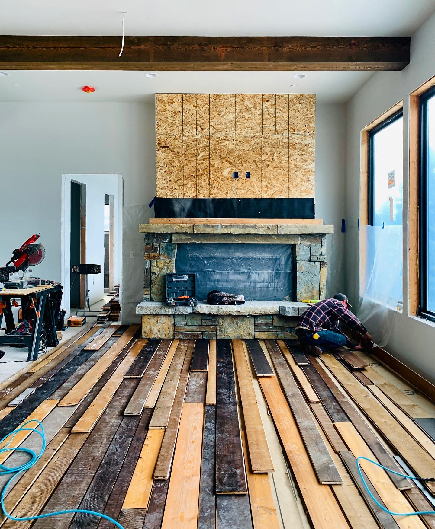 Flooring going in at the Timbers house today (good work @thileman1955 ️) it looks awesome. whitefish custom home builder
