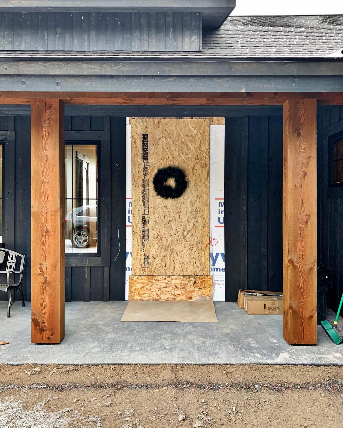 """I'm taking this as a """"we are ready for a front door"""" statement. whitefish custom home builder"""