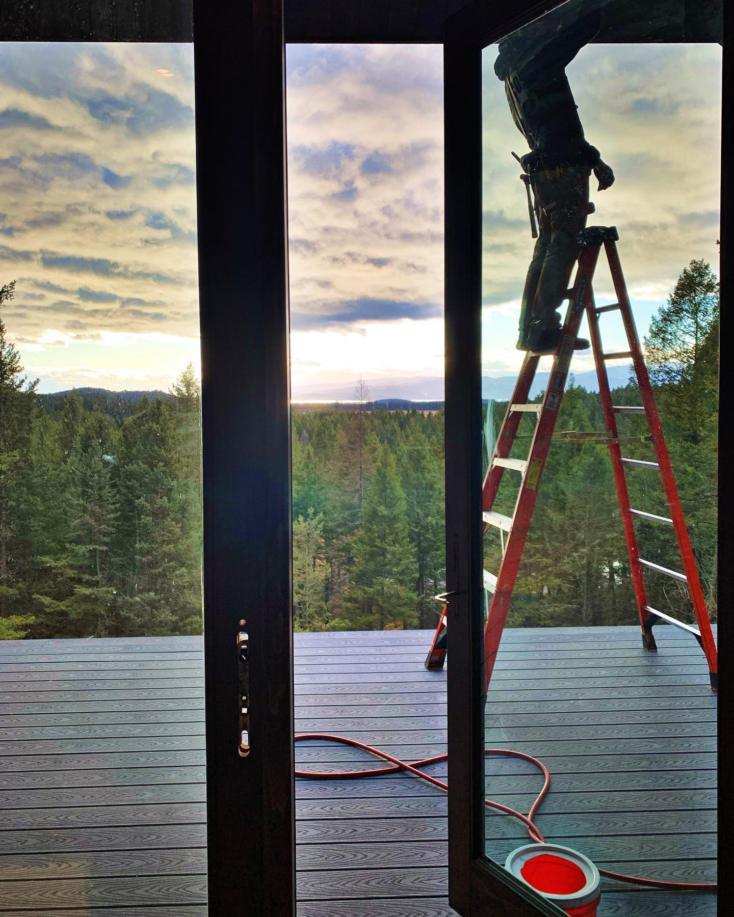 Hard to beat this view...and these December skies! whitefish custom home builder