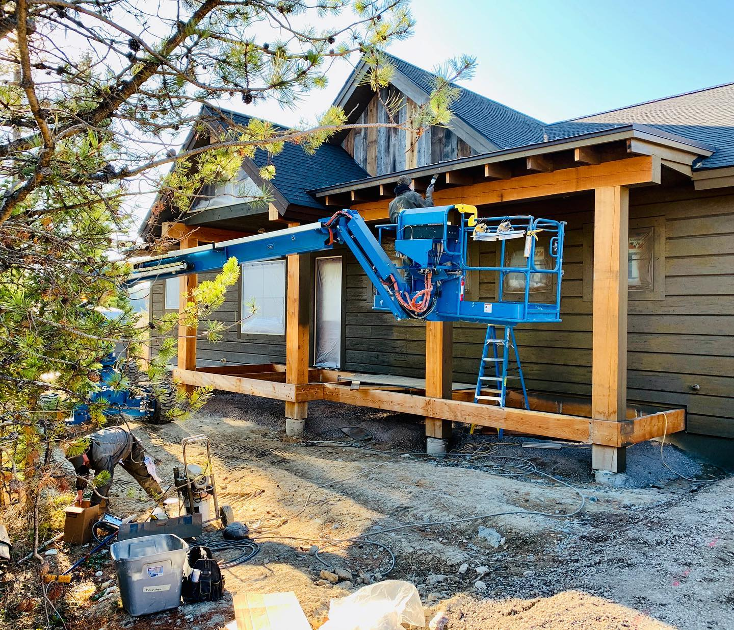 Just another day of construction (please stay sunny for another week!!) whitefish custom home builder