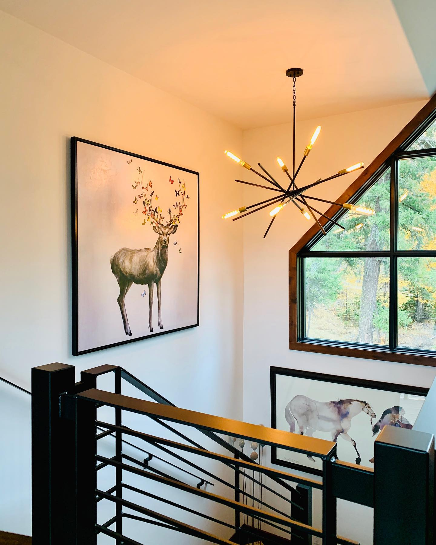 This railing. This light. This window. The decor. All so so good! whitefish custom home builder