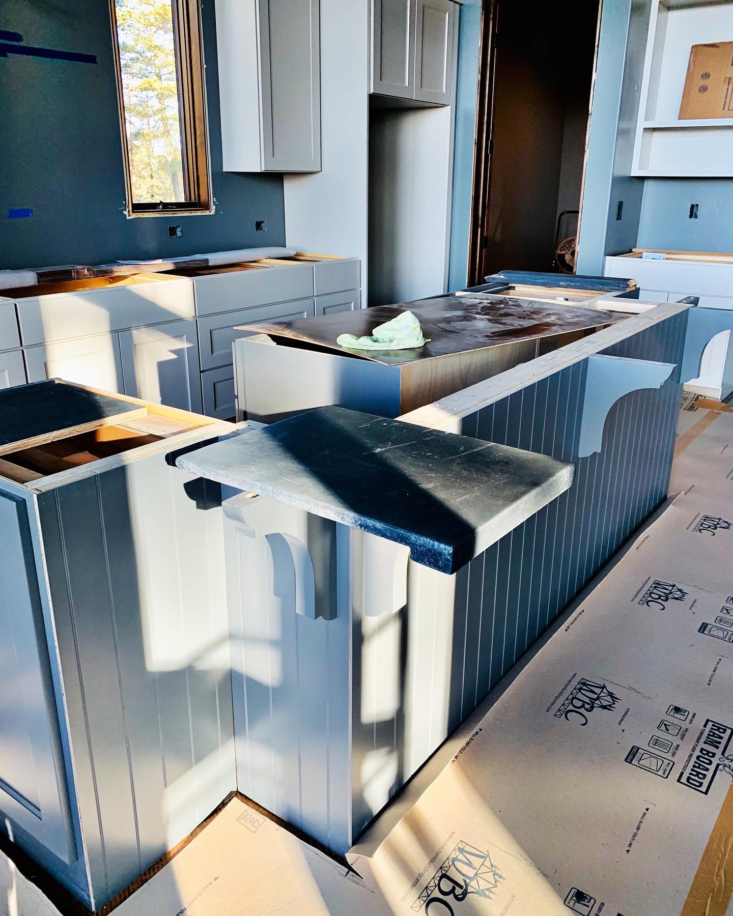 Concrete countertop mock up, next week they go into place. Can't wait! whitefish custom home builder