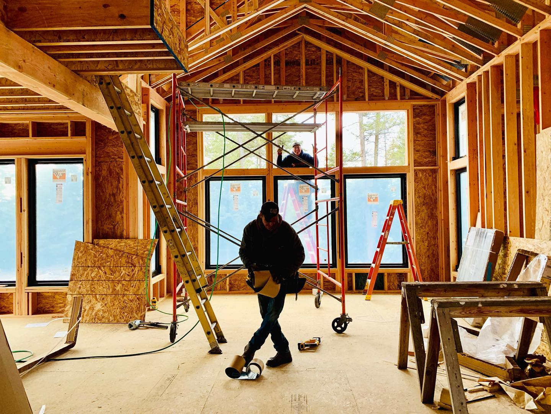 I always think the bones of a house looks like a modern art project oldmontanabuildingcompany whitefish custom home builder