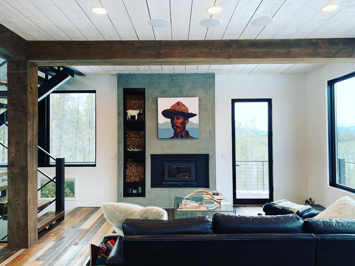 Art over the fireplace...a yes or a no?!? And how is it that art can make a person so happy?!? @frameref_whitefish @ahaze2 whitefish custom home builder