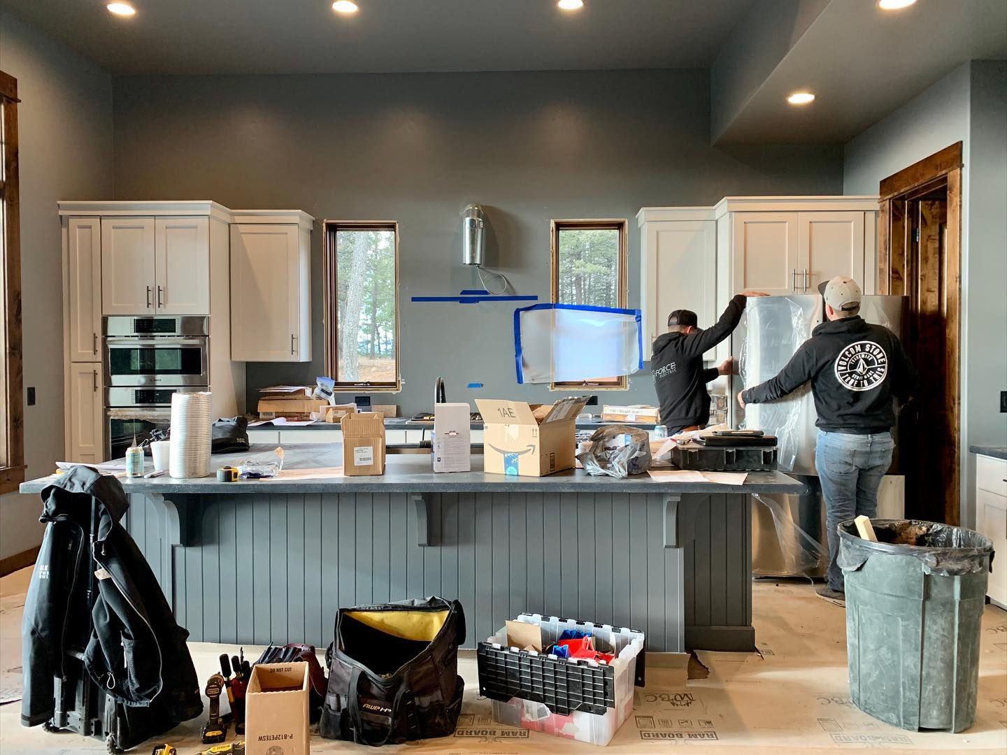 Transformation Tuesday...the final push of a million details @forceelectricco whitefish custom home builder