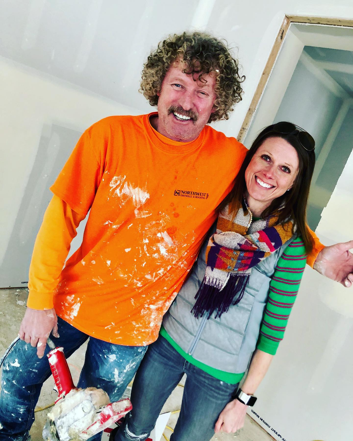 """Our drywall """"artist"""" Ron whitefish custom home builder"""