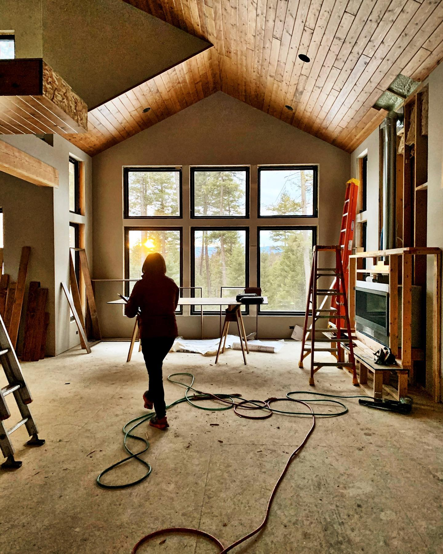The feeling of watching the home owner see a sunset out of these windows!!! whitefish custom home builder