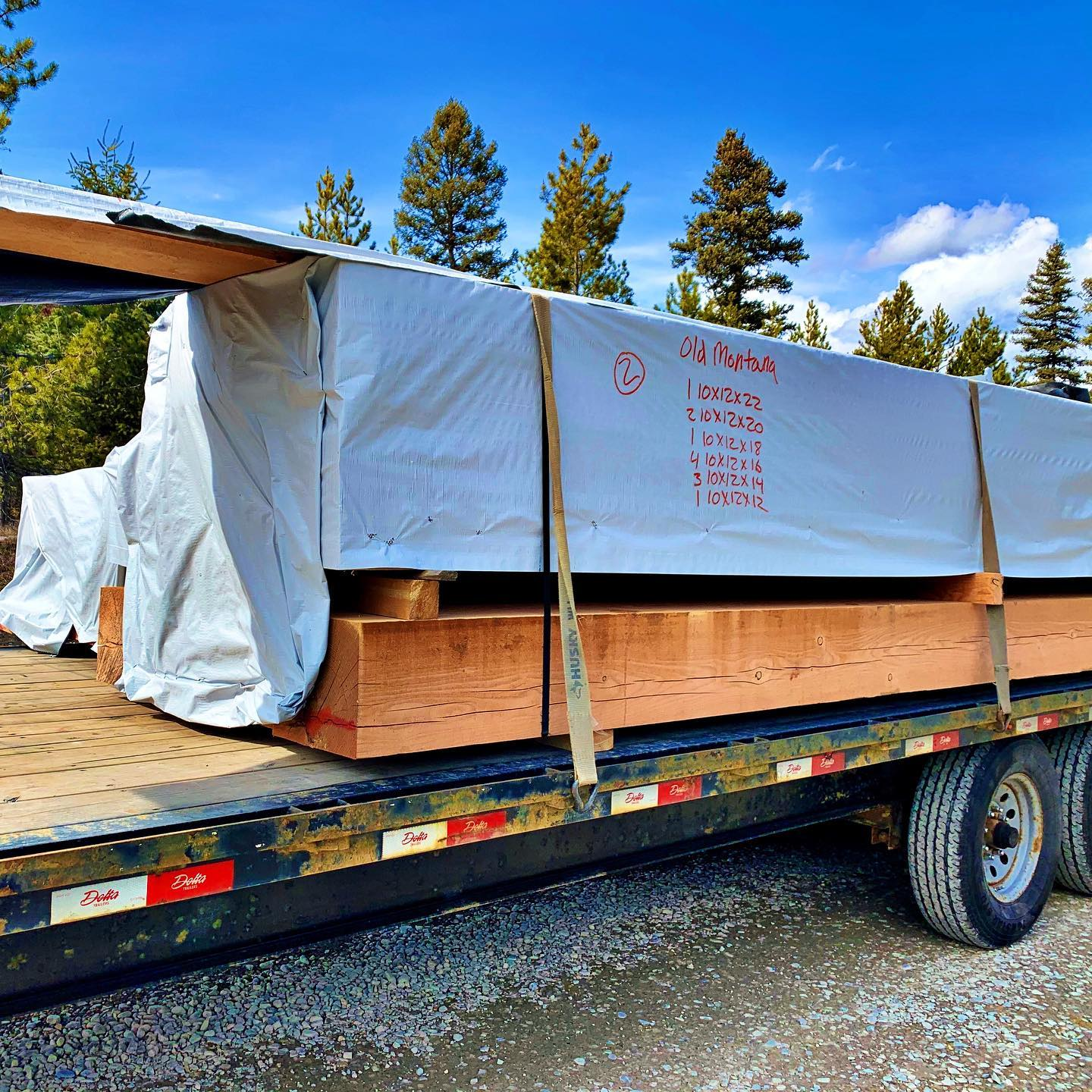 Today's load of beams whitefish custom home builder