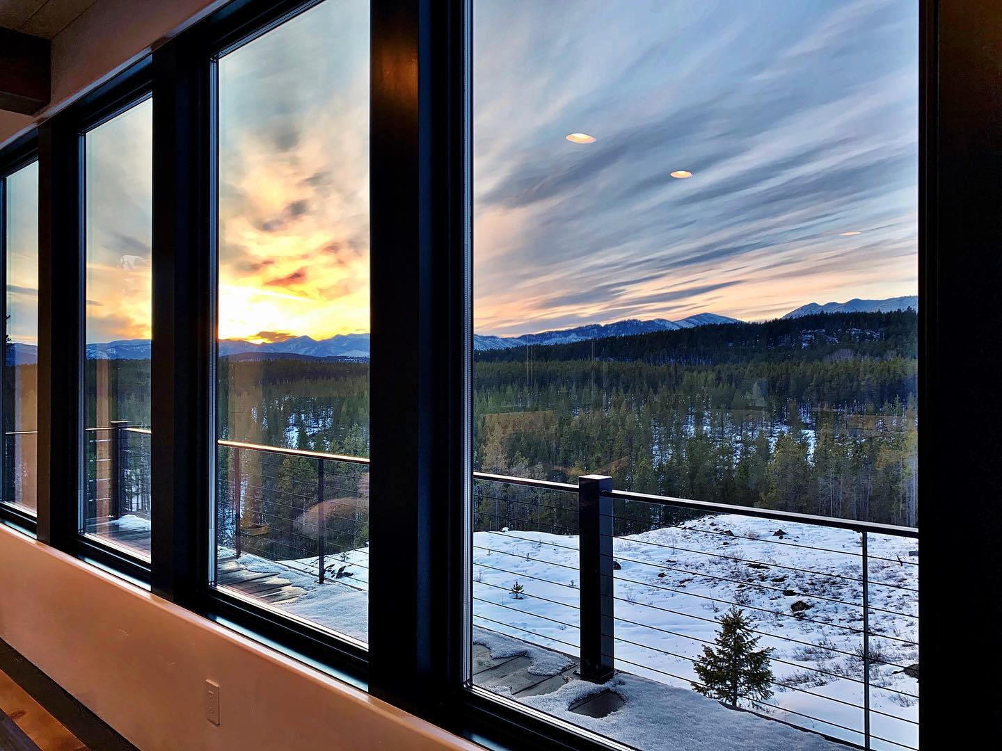 Not a bad way to end the day (I give all the credit to those triple pane windows I believe in!!) whitefish custom home builder