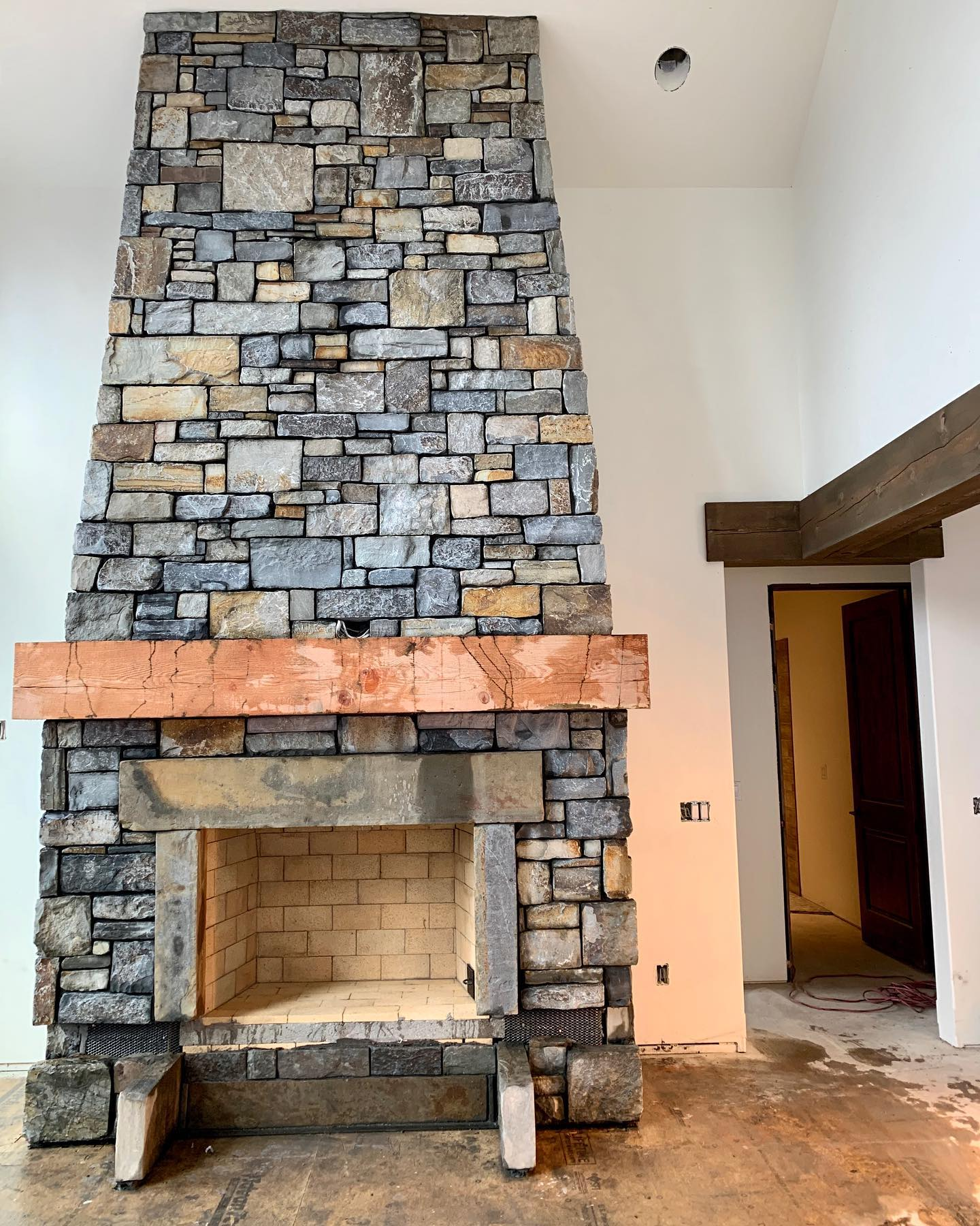 Progress report in the exciting world of fireplaces!! @montanarockworks whitefish custom home builder