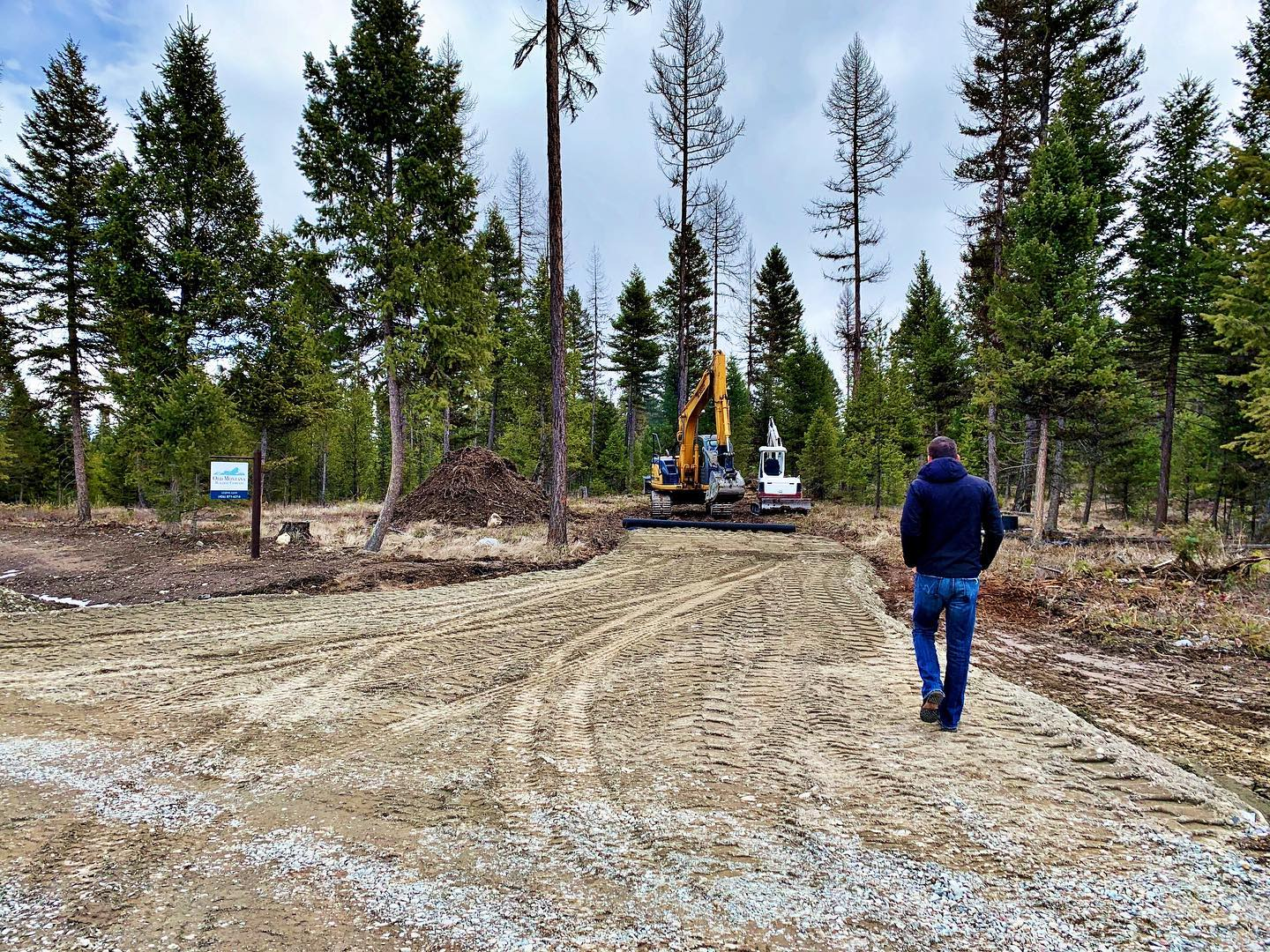 Another pretty driveway starting to take shape! whitefish custom home builder