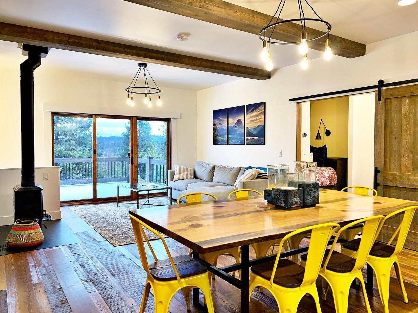 Those yellow chairs seem like even a better idea right now! Color pop! whitefish custom home builder