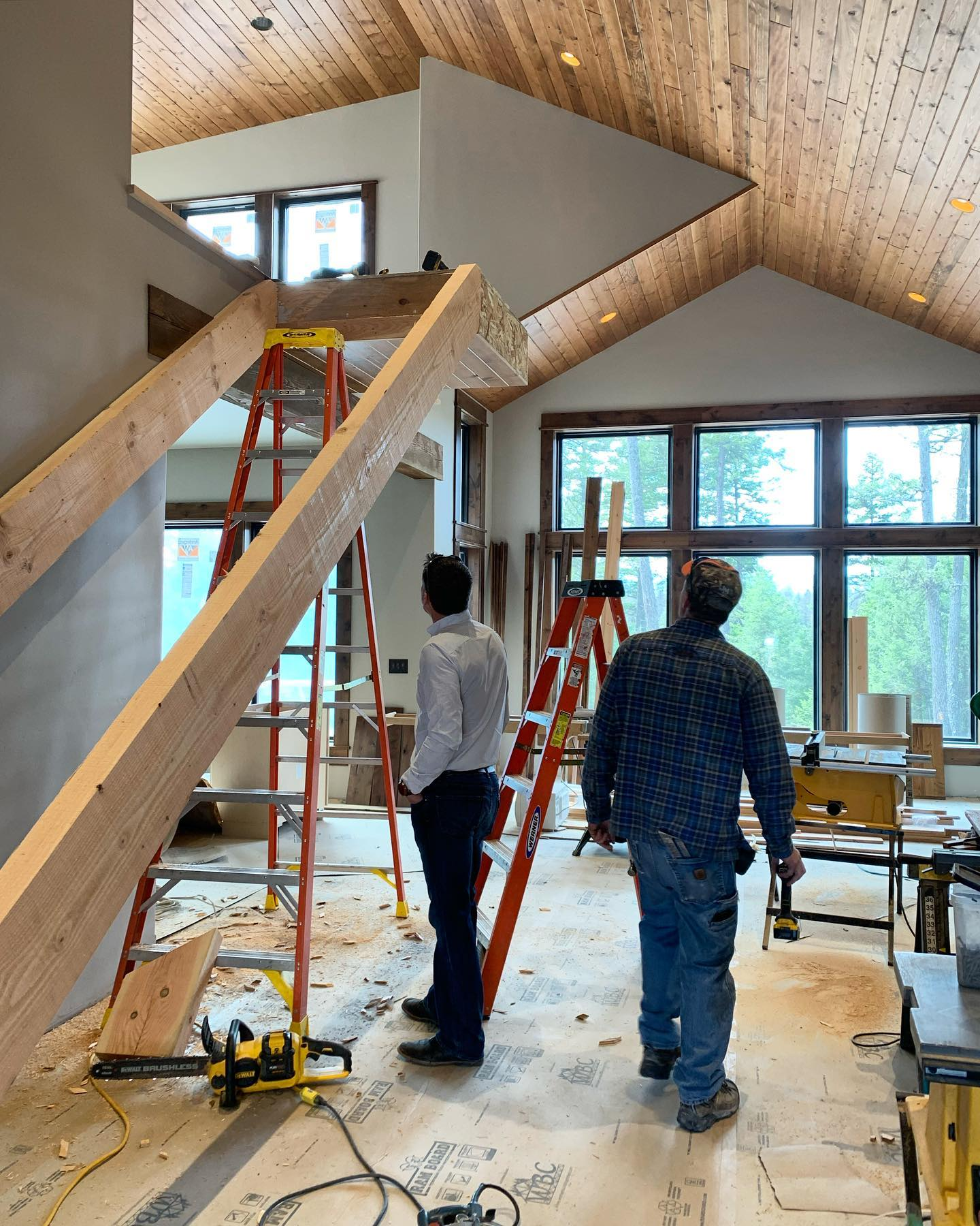 Lots of angles going on in this space! And after all this time we are getting stairs!! whitefish custom home builder