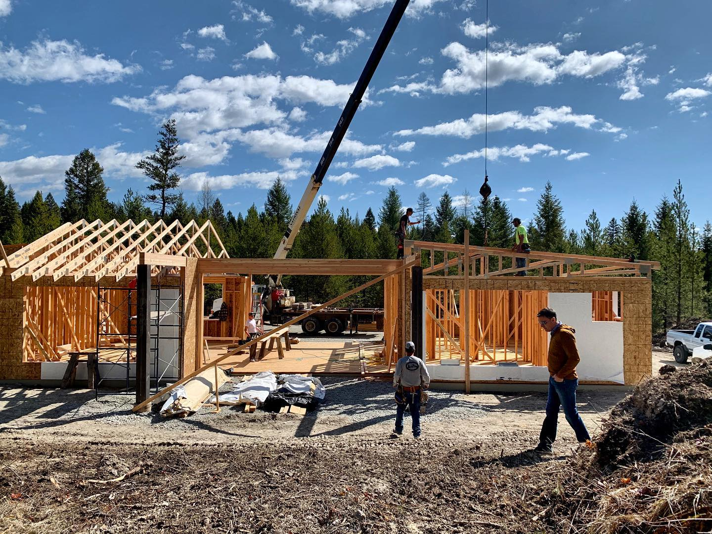 Truss setting days are the best days!! whitefish custom home builder